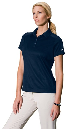 Custom embroidered 354064 nike ladies dri fit pebble for Custom embroidered work shirts no minimum