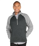 MEN'S QUARTER ZIP COLOR BLOCKED HEATHERED FLEECE Charles River 9014