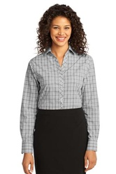 L641Ladies Port Authority Crosshatch Plaid Easy Care Shirt
