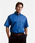 M500S Harriton Men's Short-Sleeve Twill Shirt with Stain-Release