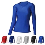 A4 Ladies Long Sleeve Compression V Neck
